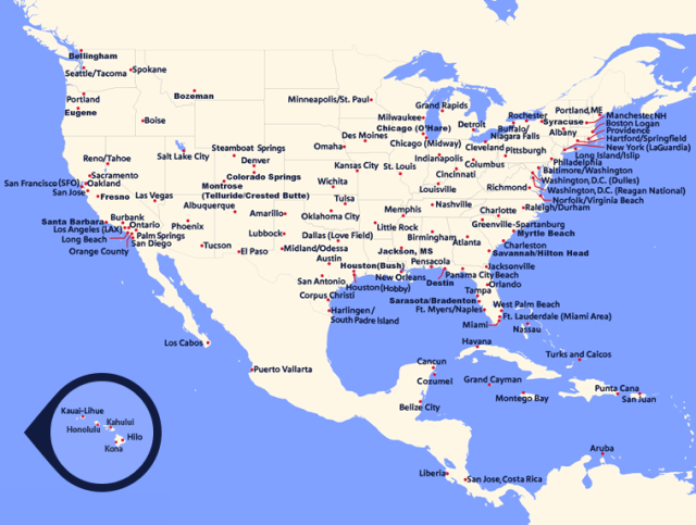Southwest airlines route map. Go to the List View tab for the accessible version.