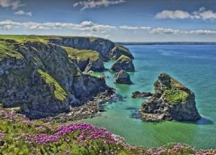 Bedruthan Steps withThrift Photographer Clive Kingsley (2012 Photo Competition entry)