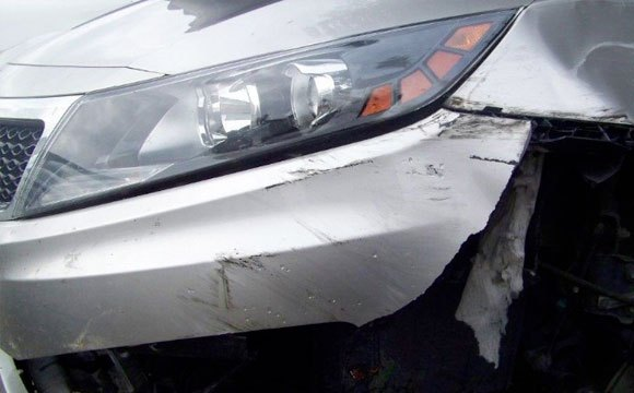 """The Louisiana Attorney General's office says when this car was in a wreck, an """"aftermarket"""" bumper didn't perform as it should."""