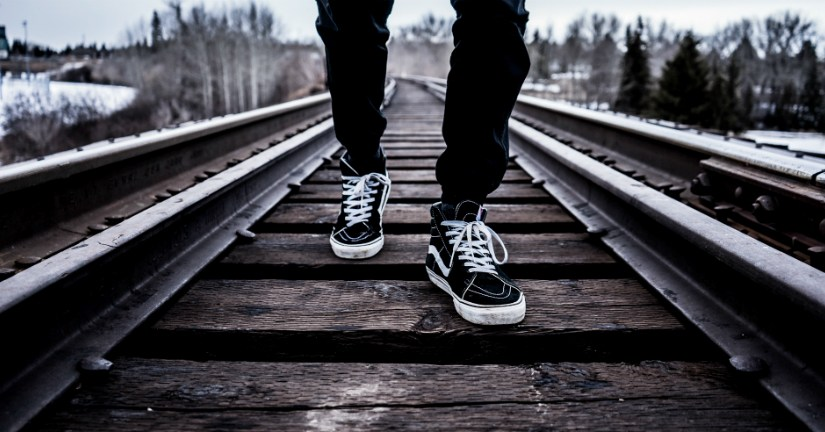 walking on railroad tracks