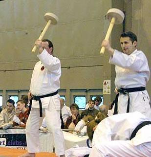 OTGKA Senior grades demonstrating the use of Chi-ishi at the Seni 2006 Combat Arts Exhibition