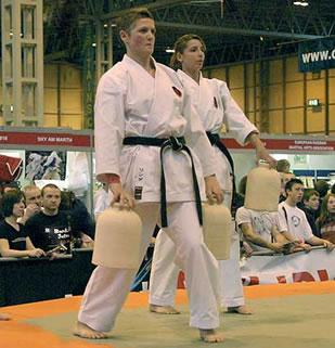 Sensei Linda Marchant leading a demonstration of Nigiri Game use at the Seni 2006 Combat Sports Show