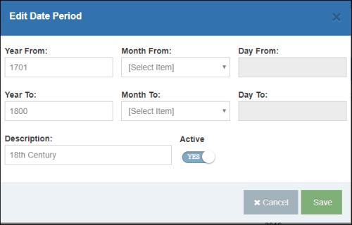 Edit Defining Date Periods