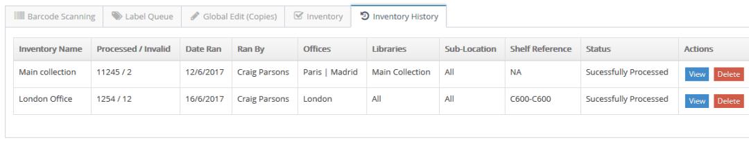 Inventory History