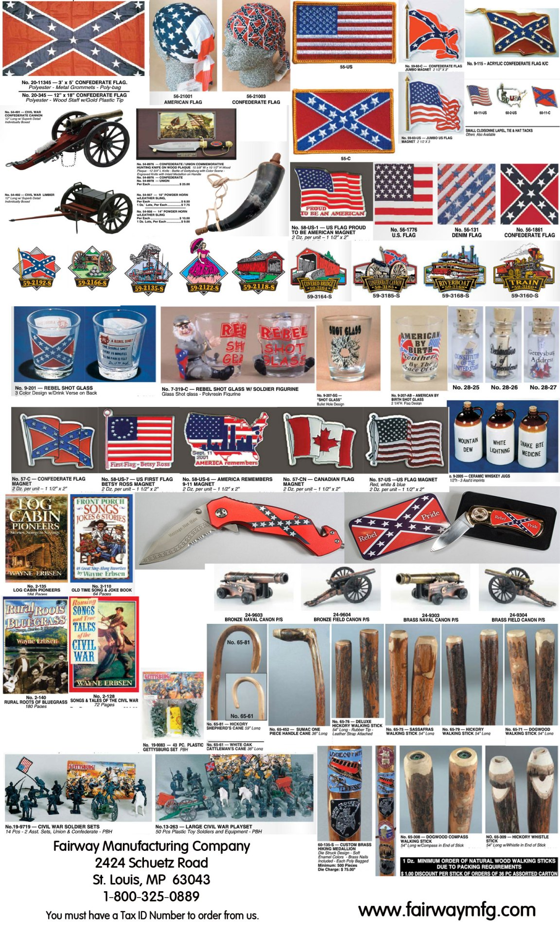 Civil War Confederate and Union Souvenirs & Gifts From Fairway Mfg Co.