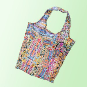 Foldable shopping tote featuring Judy Watsons artwork