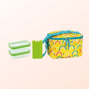 Rainbow design 4pce lunch set with insulated bag, two plastic containers and ice block