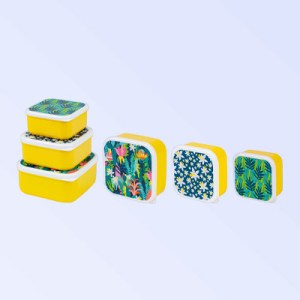 3 piece nesting containers with tropic design on the lid