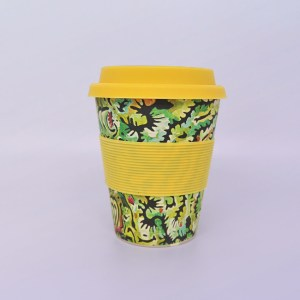 Bamboo travel mug with art design by Cedric Varcoe