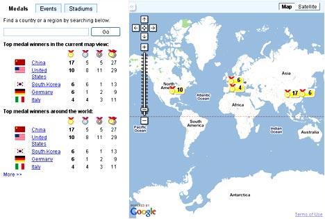 Google Maps - Giochi estivi 2008