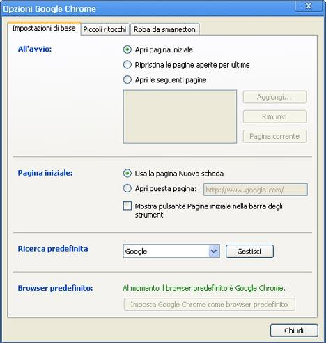 Finestra opzioni Google Chrome
