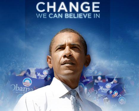 Nella foto una delle immagini scaricabili dal sito di Barack Obama con la sua foto ed in alto la scritta: change we can bilieve in.