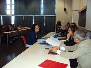 Stefania Perrotta durante la dissertazione tesi di laurea
