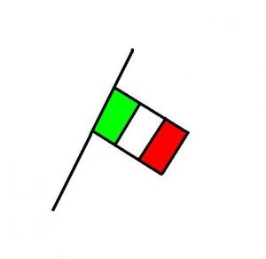 Bandiera tricolore Italia a mezz'asta
