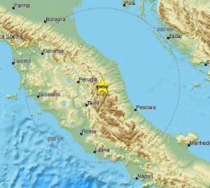 Terremoto Centro Italia - mappa EMSC