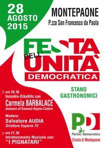 """Montepaone – Venerdì 28 agosto la """"Festa dell'Unità Democratica"""""""
