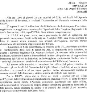La UILPA sulla paventata soppressione dell'Agenzia delle Entrate di Soverato