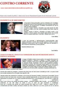 """Online il numero di ottobre del mensile """"Contro Corrente"""""""
