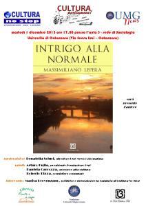 """Catanzaro – Presentazione romanzo """"Intrigo alla Normale"""" di Massimiliano Lepera"""