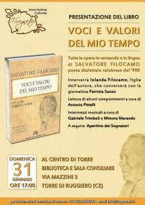 Torre di Ruggiero – Domenica 31gennaio appuntamento con la poesia di Salvatore Filocamo