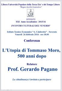 """Soverato – Venerdì 26 Febbraio conferenza """"L'Utopia di Tommaso Moro, 500 anni dopo"""""""