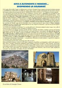 Il 10 luglio gita a Altomonte e Morano con partenza da Soverato