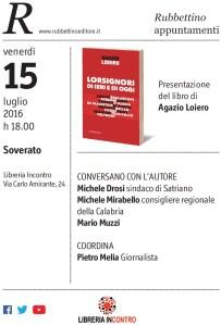 Soverato – Venerdì 15 Luglio presentazione del libro di Agazio Loiero