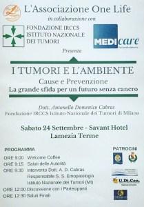 """Lamezia Terme – Sabato 24 Settembre convegno sul tema """"I tumori e l'ambiente"""""""