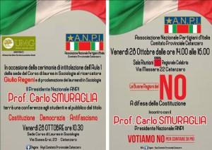 Il Presidente Nazionale dell'ANPI Carlo Smuraglia venerdì 28 ottobre a Catanzaro