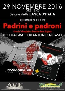 """Reggio Calabria, martedì 29 novembre Nicola Gratteri presenta """"Padrini e Padroni"""""""