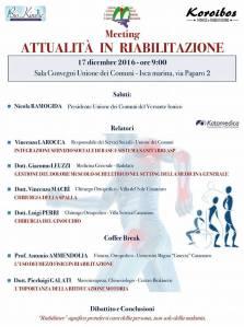 """Isca – Sabato 17 dicembre il meeting """"Attualità in riabilitazione"""""""