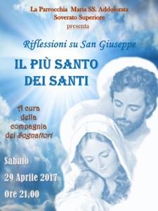 """Soverato Superiore – Sabato 29 Aprile riflessioni su San Giuseppe """"Il più Santo dei Santi"""""""