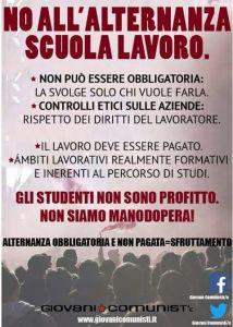 Giovani Comunisti contro l'alternanza scuola-lavoro