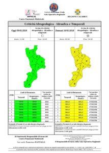 Calabria – Allerta Meteo diramato dall'Arpacal per la giornata di domani