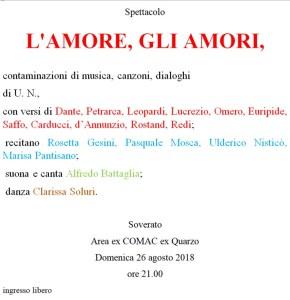 """Soverato – Domenica 26 Agosto lo spettacolo """"L'Amore, gli Amori"""""""