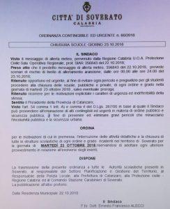Maltempo – Allerta della Protezione Civile, domani scuole chiuse a Soverato
