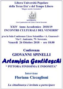 """Soverato – Venerdì 26 Ottobre conferenza """"Artemisia Gentileschi"""""""