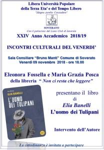 """Soverato – Venerdì 9 Novembre presentazione del libro """"L'uomo dei Tulipani"""""""