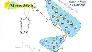 Allerta Meteo – In arrivo tanta neve, accumuli abbondanti fin sulle coste