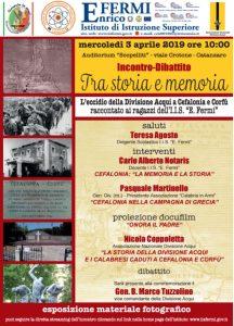 """Giorno 3 Aprile un incontro-dibattito in ricordo dell'eccidio della Divisione """"Acqui"""" a Cefalonia e Corfù"""
