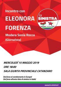 Mercoledì 15 maggio Eleonora Forenza eurodeputata di Rifondazione Comunista a Catanzaro