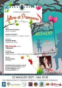"""Girifalco – Mercoledì 22 maggio il terzo appuntamento con le """"Letture di Primavera"""""""