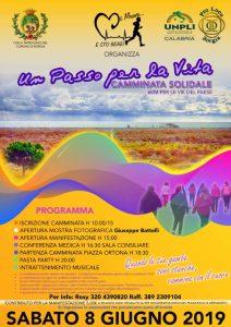 """Sabato 8 Giugno a Borgia """"Un passo per la vita"""" – camminata solidale"""