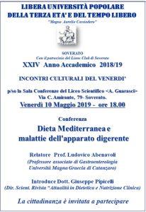 """Soverato – Venerdì 10 Maggio la conferenza il """"Dieta Mediterranea emalattie dell'apparato digerente"""""""