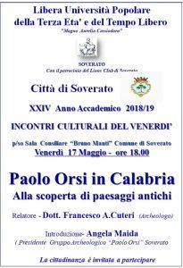 """Soverato – Venerdì 17 Maggio la conferenza """"Paolo Orsi in Calabria. Alla scoperta di paesaggi antichi"""""""