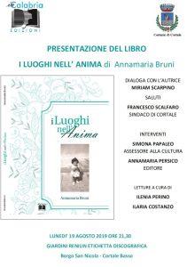 """Cortale – Il 19 agosto la presentazione del libro """"I Luoghi nell'Anima"""" di Annamaria Bruni"""