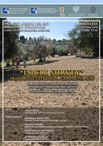 Mercoledì 2 ottobre presentazione della ricognizione archeologica del Locri survey – 2019