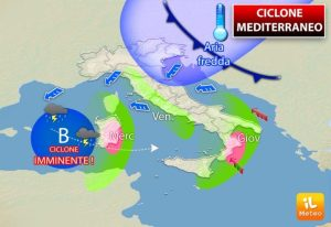 Allerta Meteo per la Calabria Jonica per l'arrivo di un ciclone mediterraneo