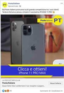 """Truffe online. La finta promozione di """"Poste Italiane""""con l'Iphone 11 Pro in regalo"""