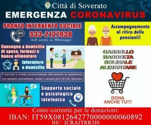 Emergenza Coronavirus, iniziative solidali dal Comune di Soverato